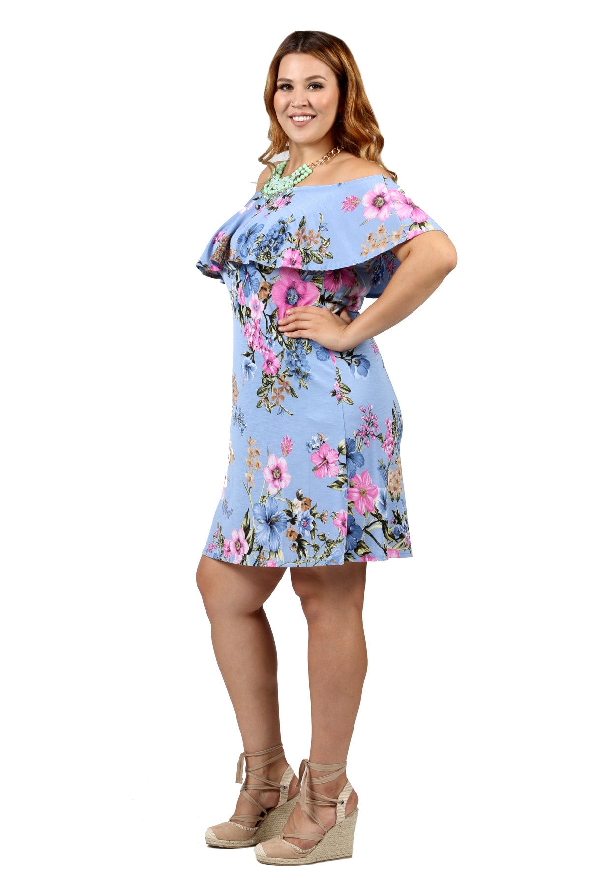 6d426cb59ba5 Xehar Women s Plus Size Off Shoulder Ruffle Floral Print Dress ...