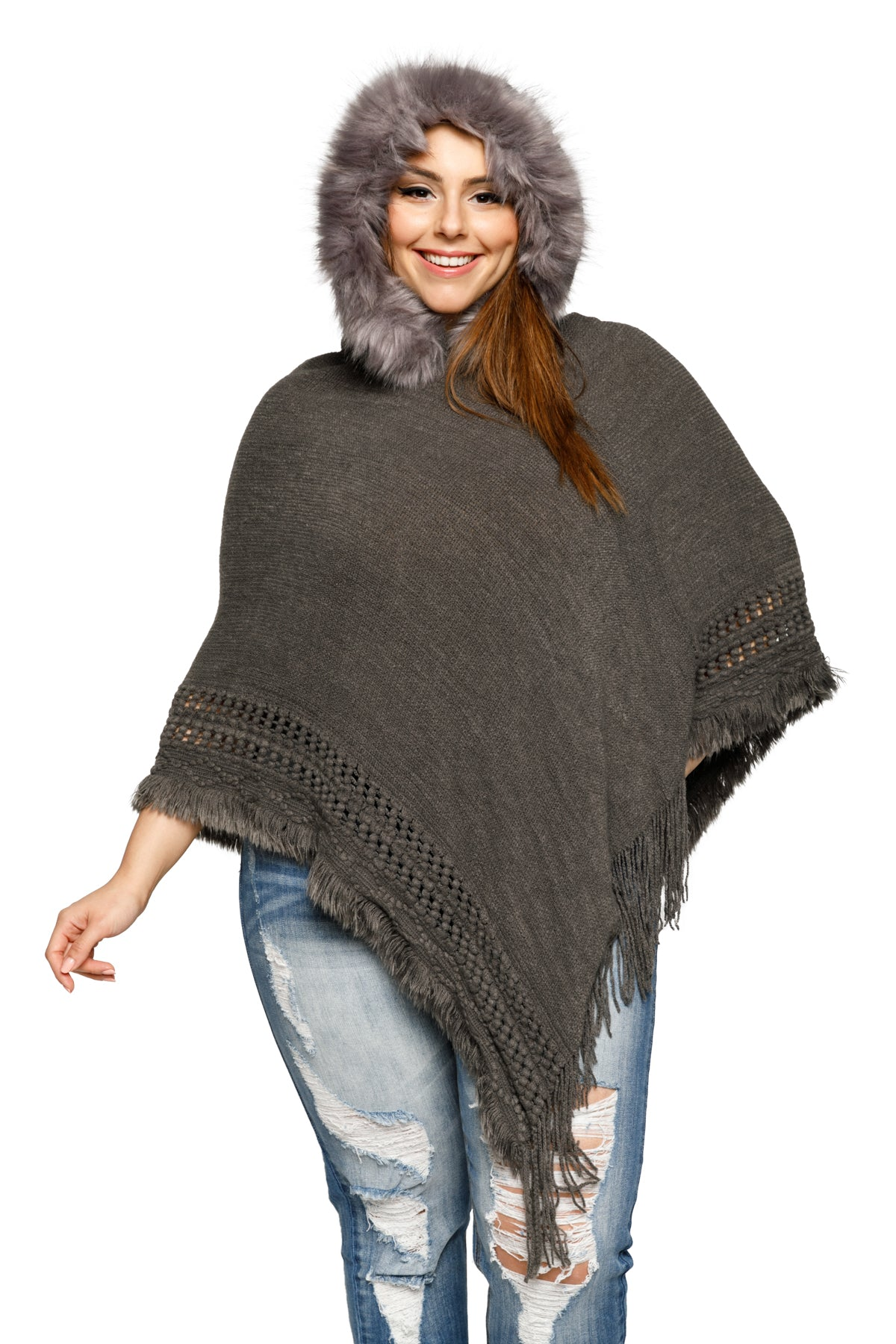 Plus Size Faux Fur Trim Hoodie Poncho Sweater