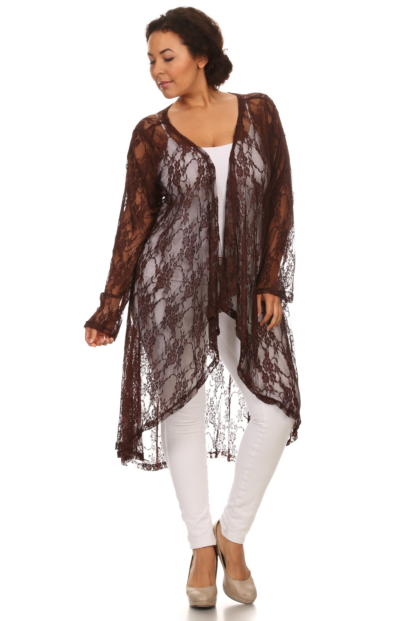 Plus Size High Low Lace Cardigan