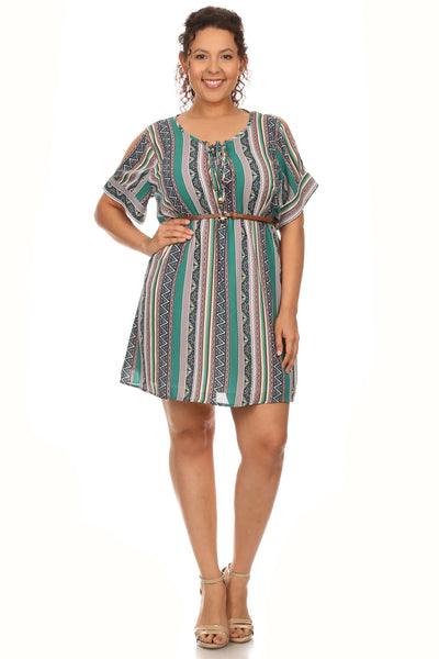 Plus Size Stripe Mini Sundress