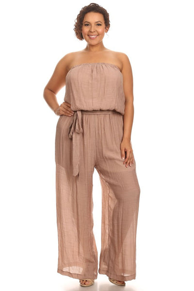 Plus Size Off Shoulder Strapless Jumpsuit