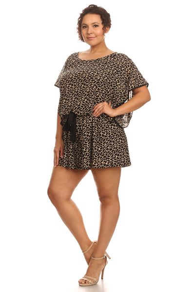 Plus Size Cheetah Print Romper