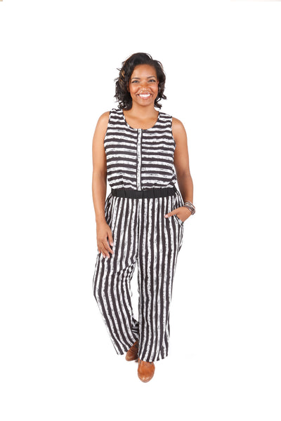 Plus Size Sleeveless Stripe Jumpsuit