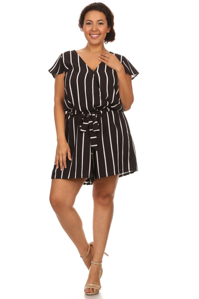 Plus Size Short Stripe Romper