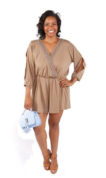 Plus Size Embellished Short Romper