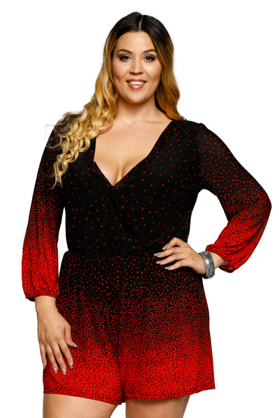 14f76f79f239a Plus Size Ombre Dotted Cuffed Long Sleeve Romper. Hadari Online. Plus Size  ...