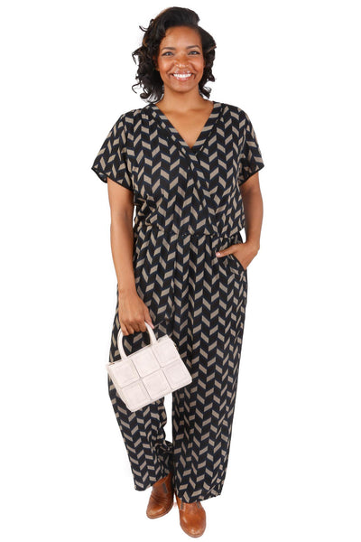 Plus Size V-Neck Chevron Jumpsuit