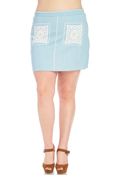 Plus Size Denim Short Mini Skirt