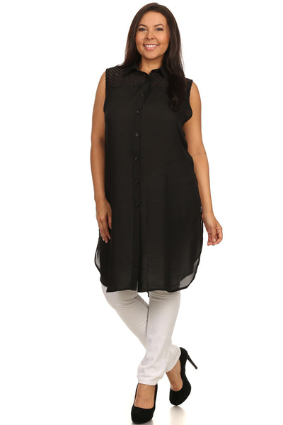 Plus Size Sexy Sleeveless Button Down Tunic