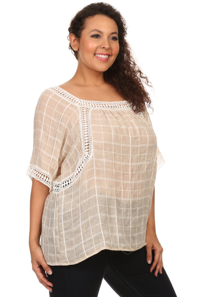 Plus Size Square Neck Blouse