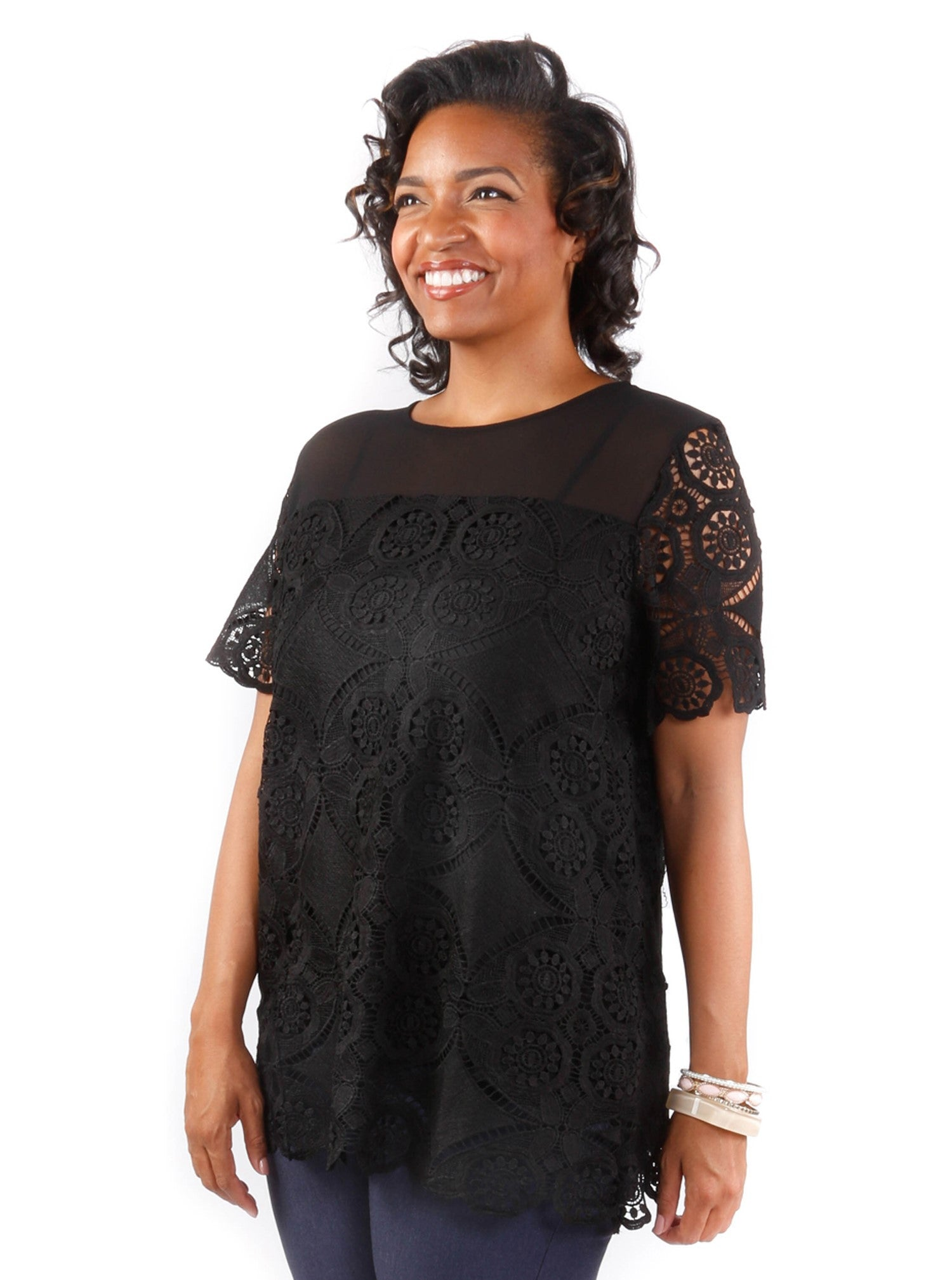Plus Size Crochet Floral Top
