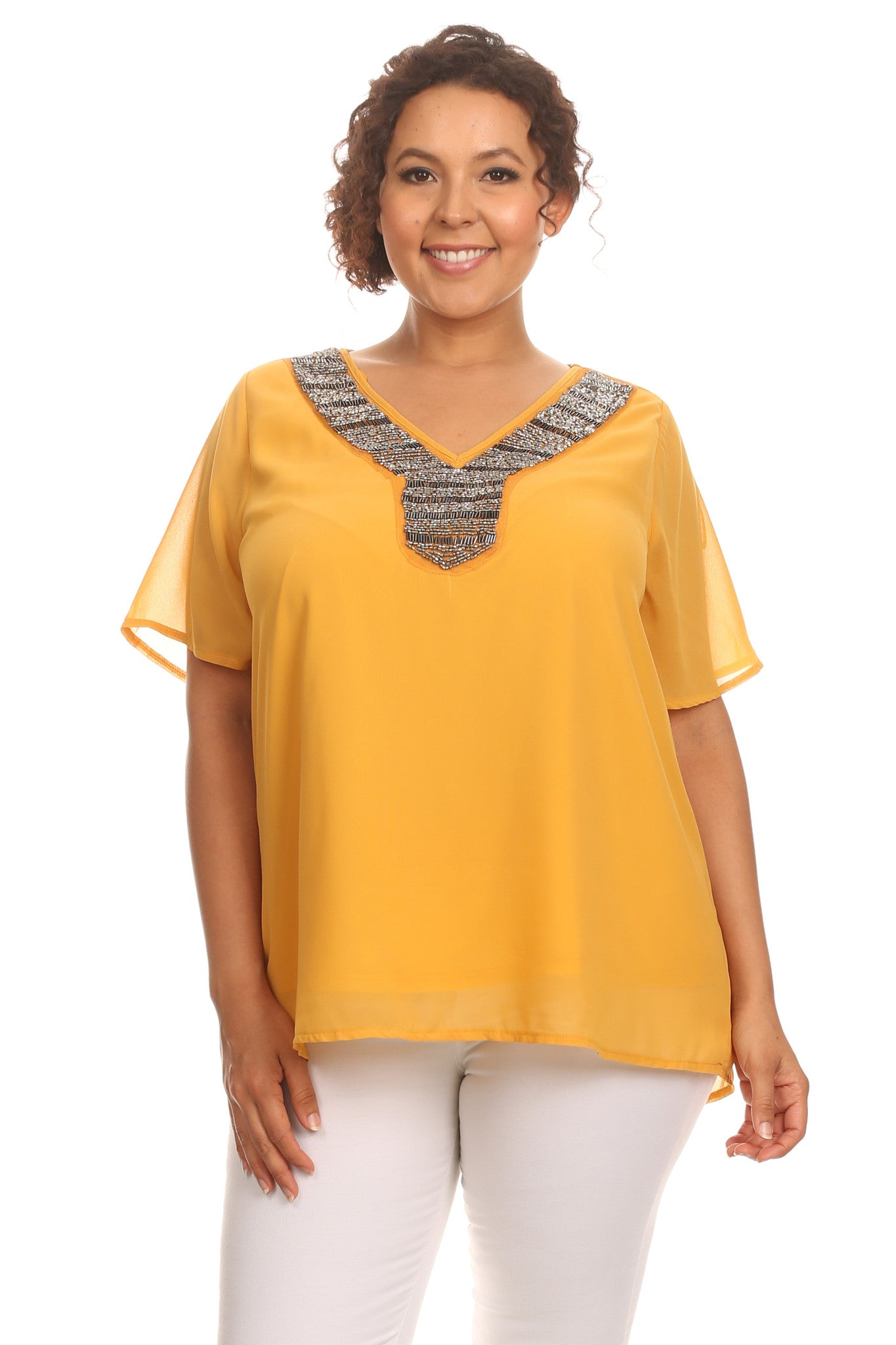 Plus Size Casual Beaded V-Neck Blouse
