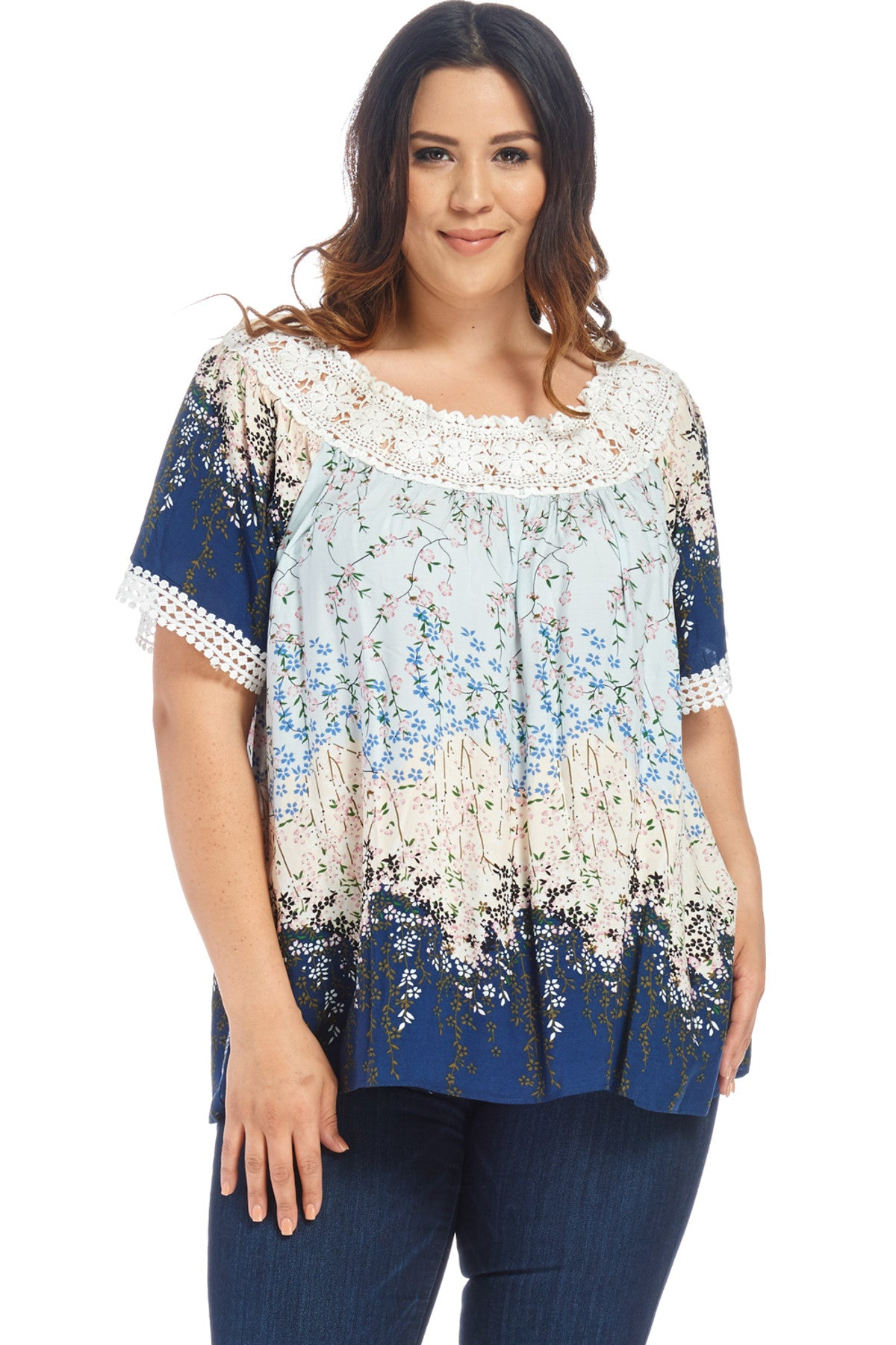 Plus Size Floral Shirt Tops