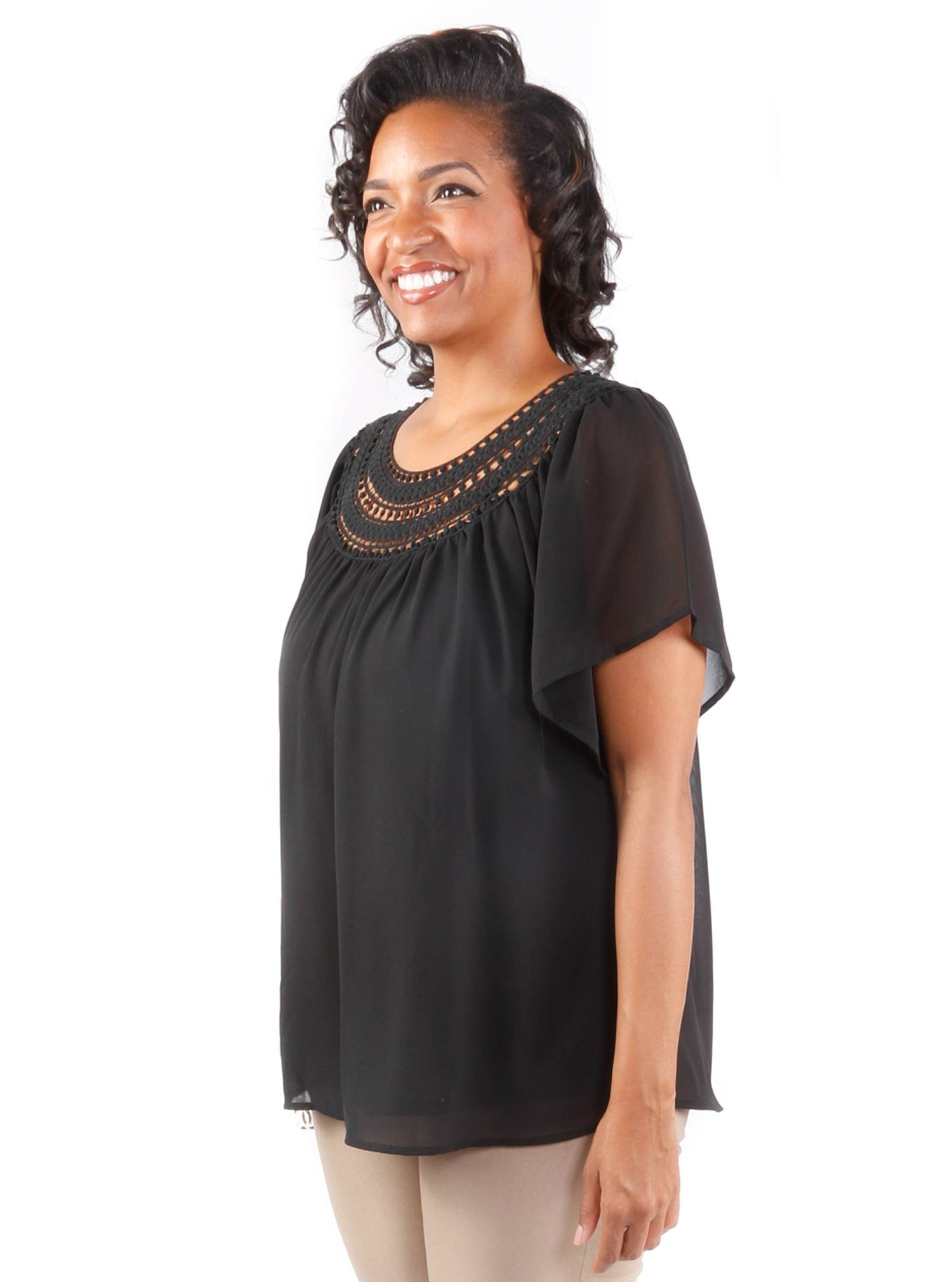 Plus Size Crochet Sheer Blouse