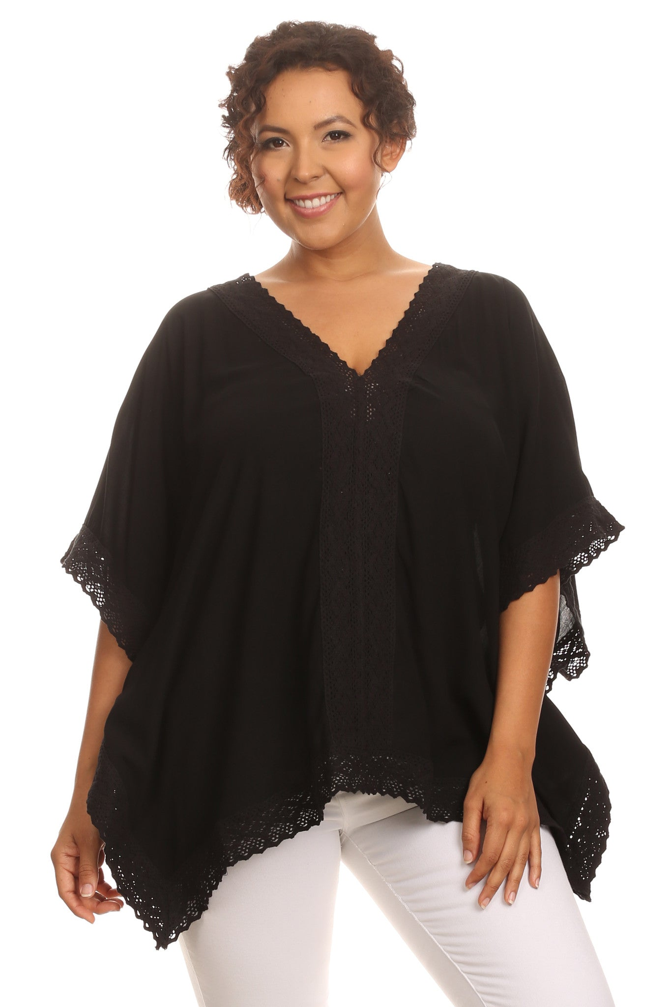 Plus Size Lace Trim Boho Blouse