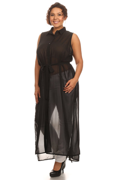 Plus Size Long Sheer Body Tunic