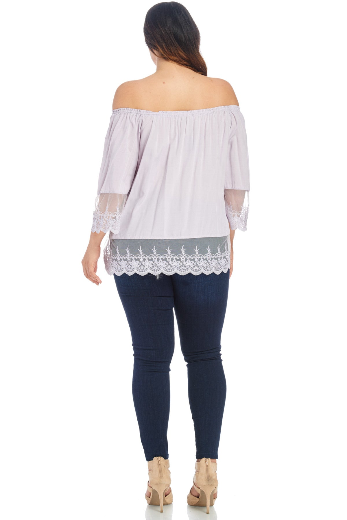 Plus Size Lace Blouse Shirt Tops