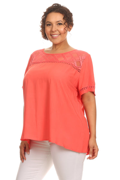 e0ec90695da7e Plus Size Casual Short Sleeve Blouse. Hadari Online