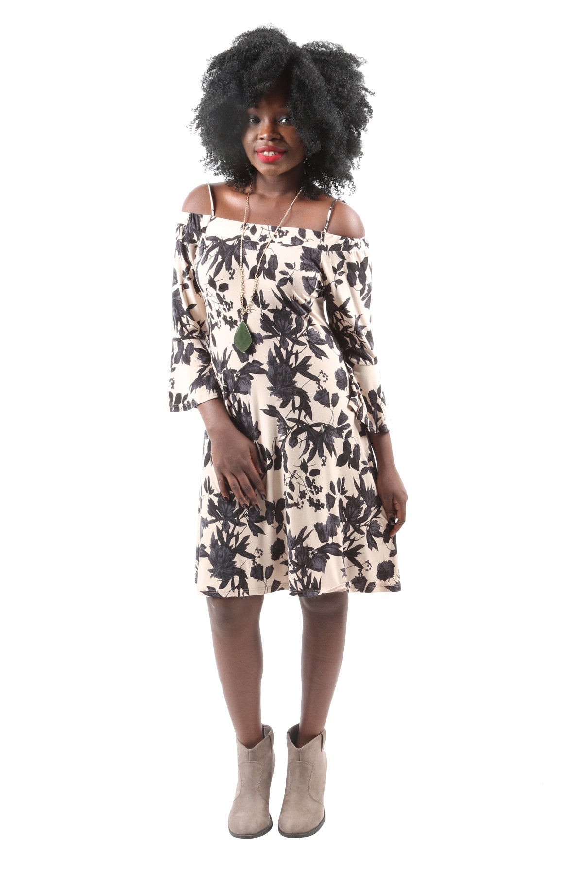Off Shoulder Flower Print Dress