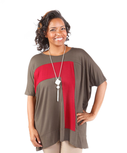 Plus Size Contrast Tunic