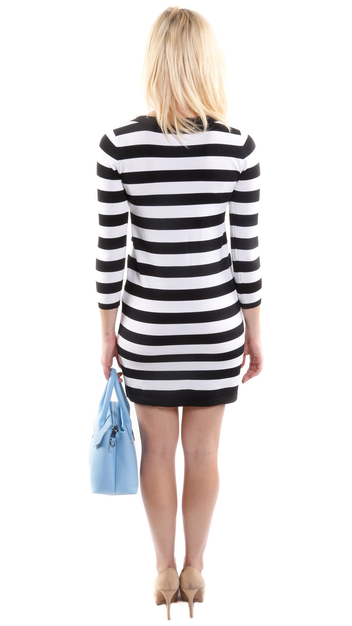 Pearl Embellished Stripe Dress