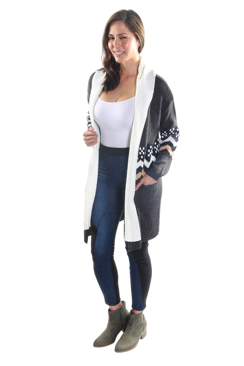 Open Front Geometric Hooded Cardigan