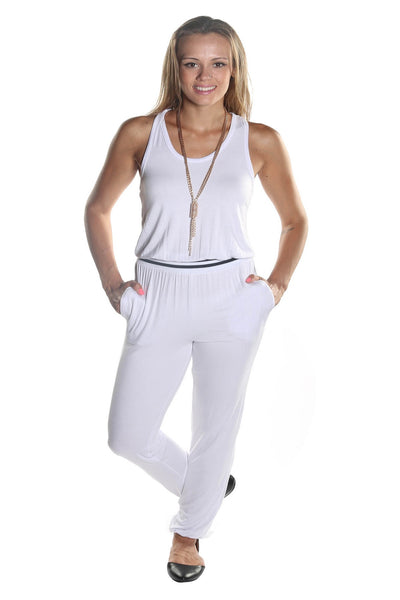 Women's Sleeveless Scoop Neckline Pant Jumpsuit