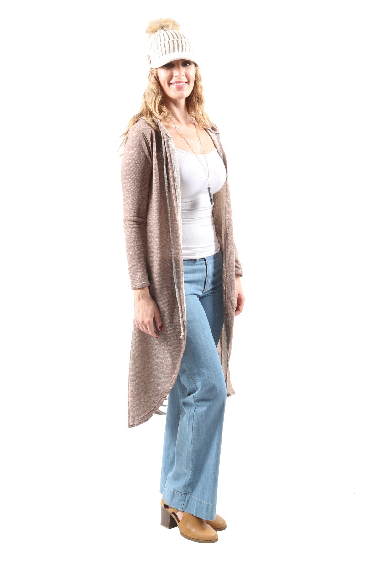 Casual Long Open Front Hooded Cardigan