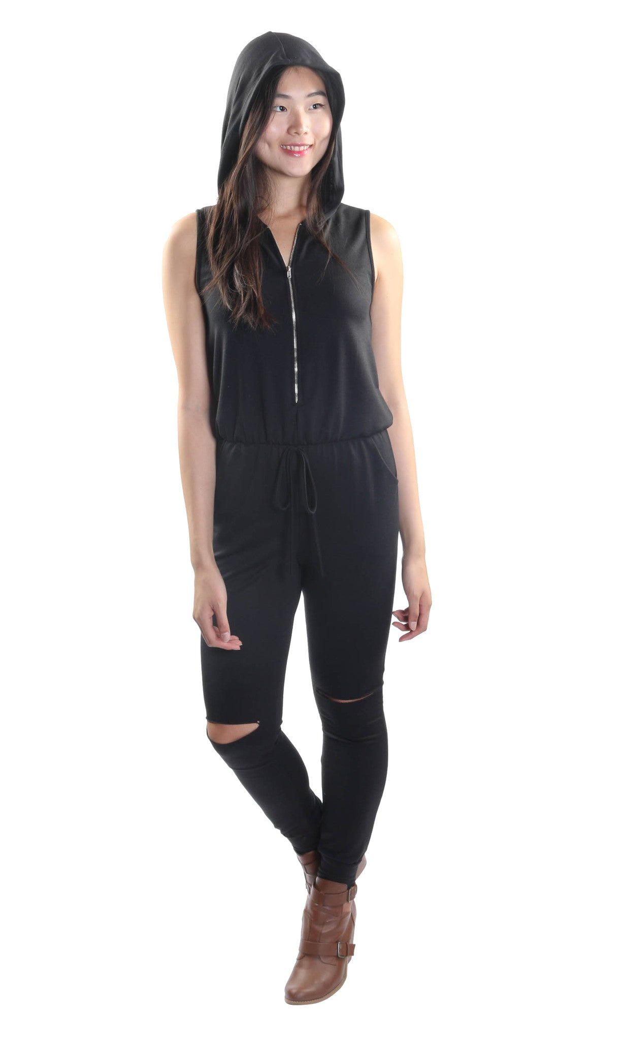 Sleeveless Distressed Jumpsuit