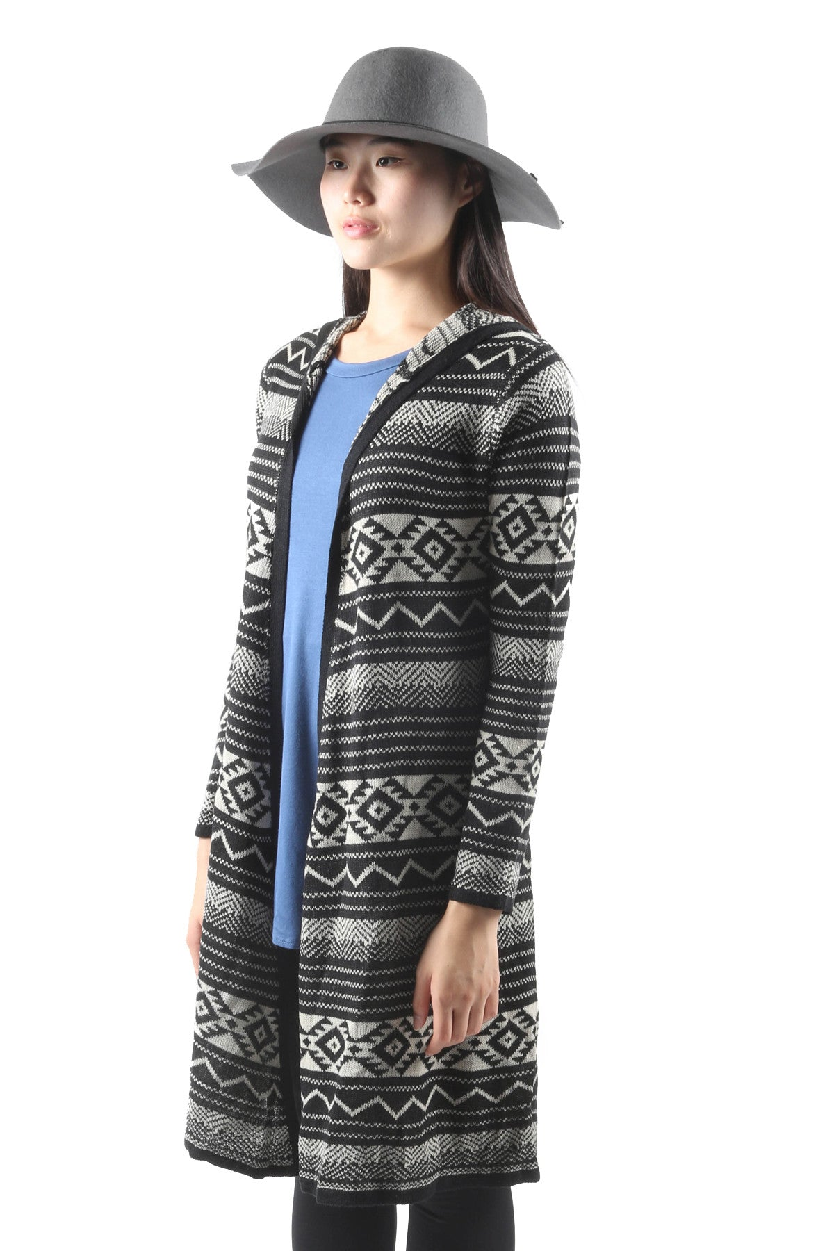 Geometric Long Hooded Cardigan