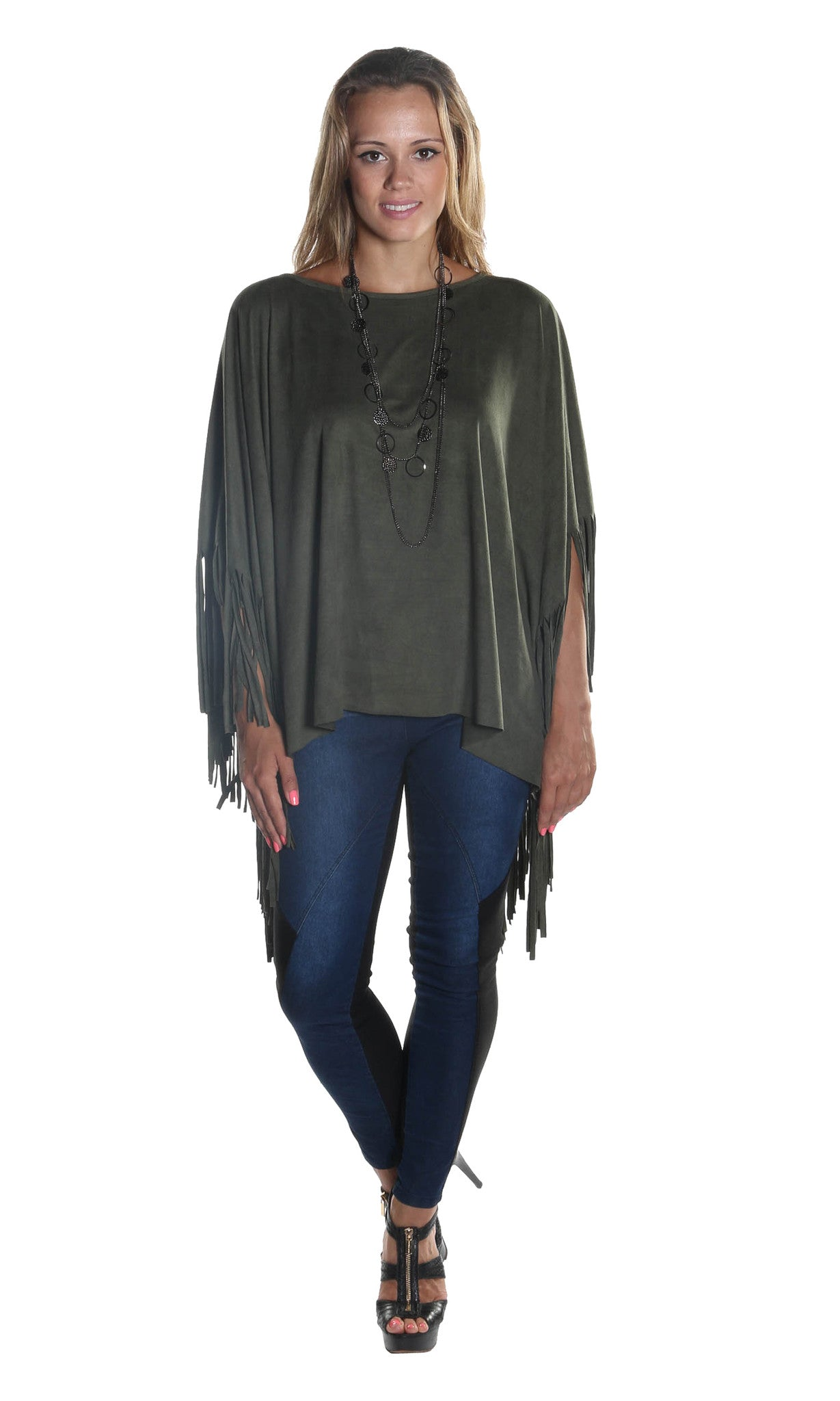 Fringe Cape Sweater Poncho