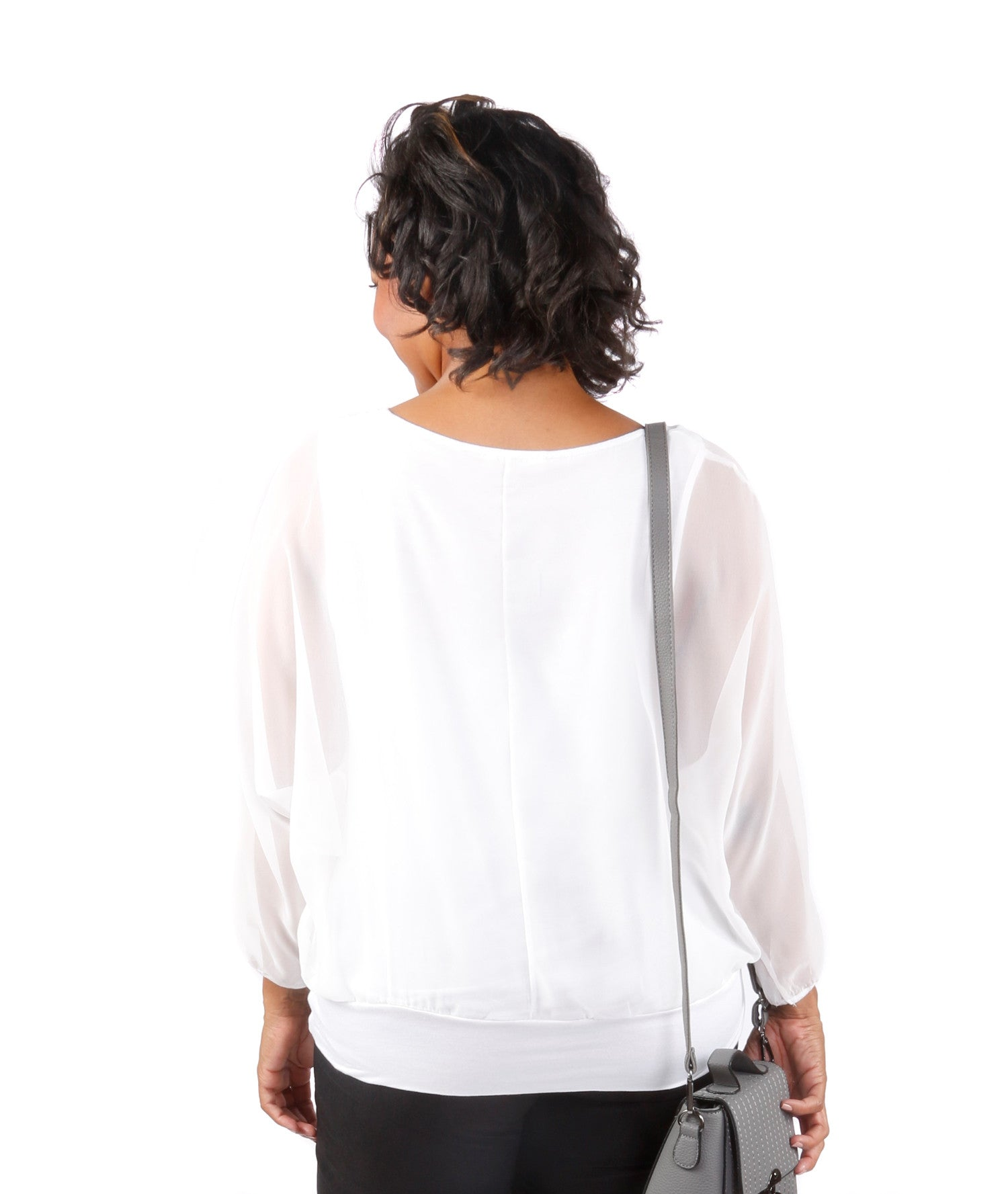Plus Size Sheer Dolman Blouse