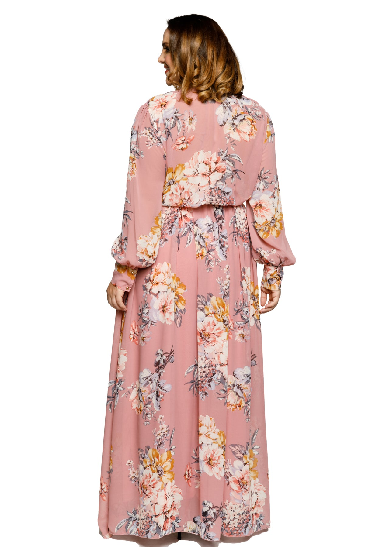 Plus Size Casual V-Neck Floral Print Maxi Dress
