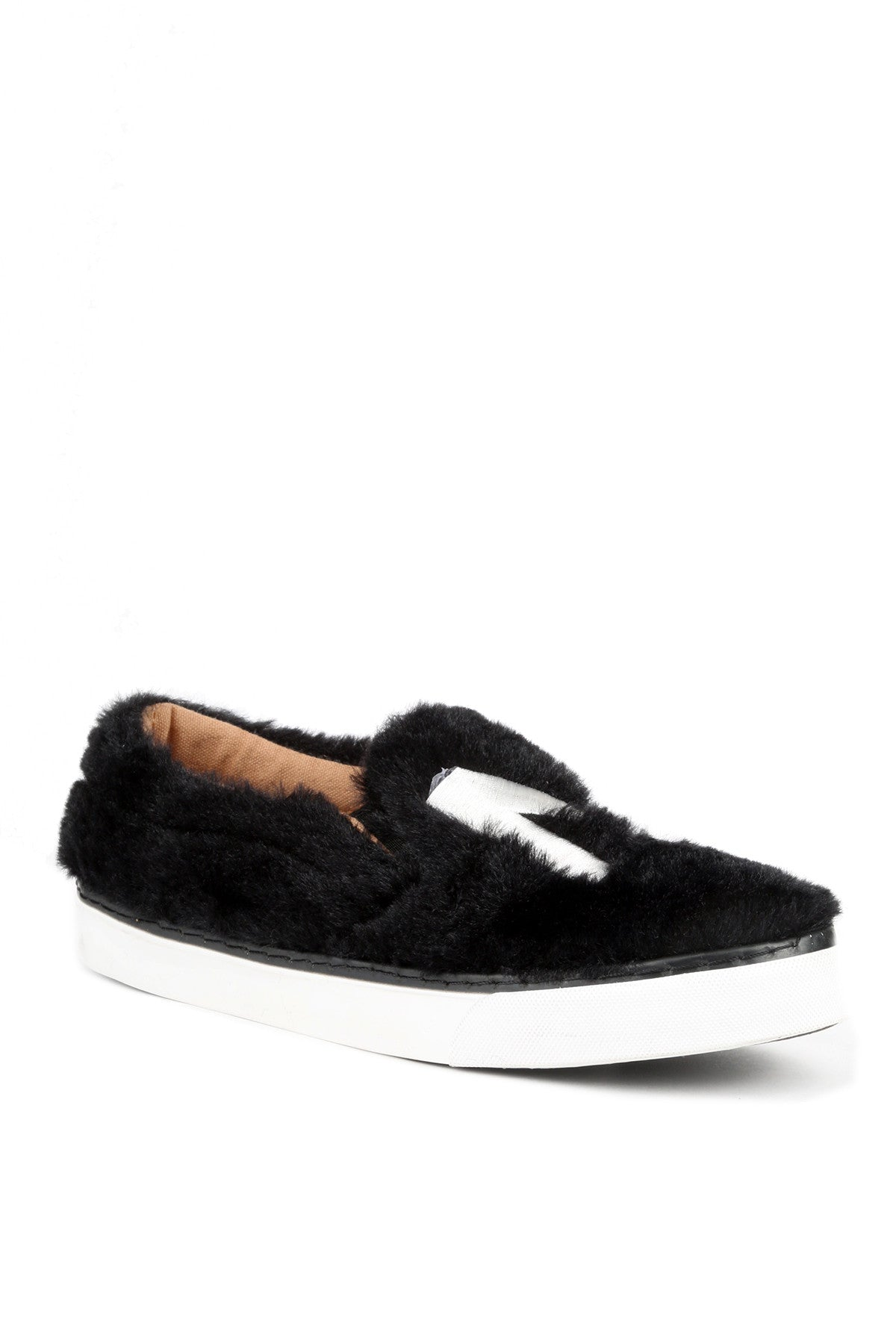 Casual Fashion Fur Slip On Sneakers