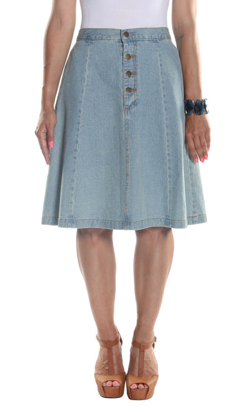 Classic Midi Denim Skirt