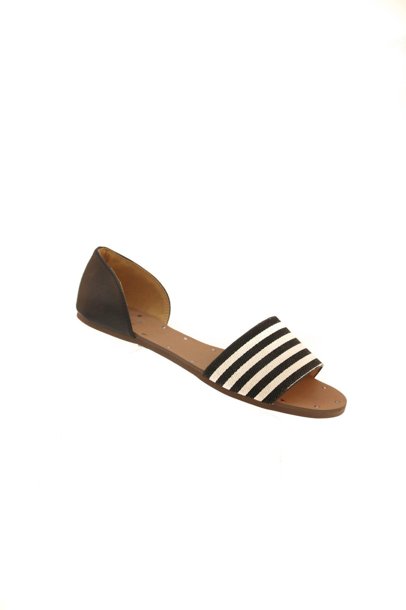 Open Toe Stripe Flats