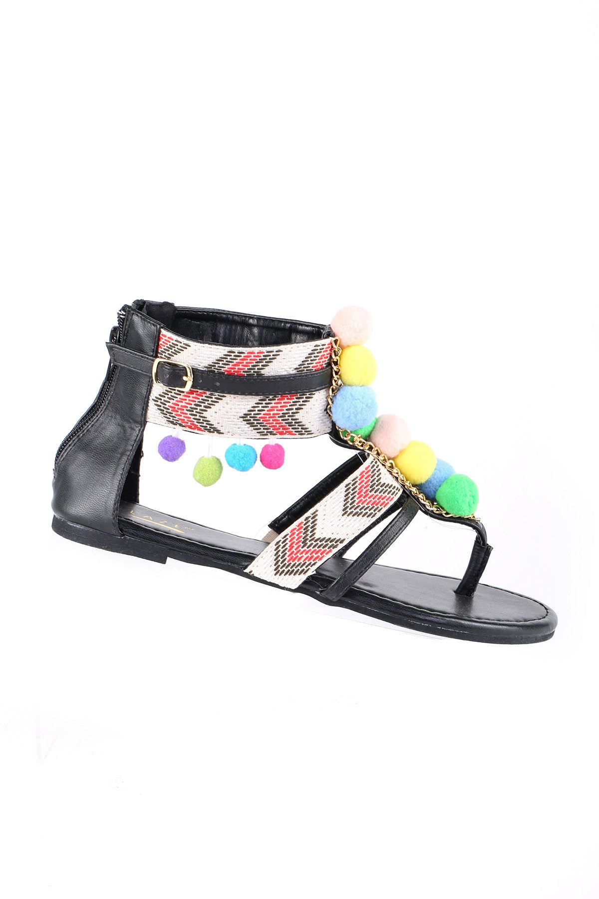 Beaded Gladiator Flat Sandal