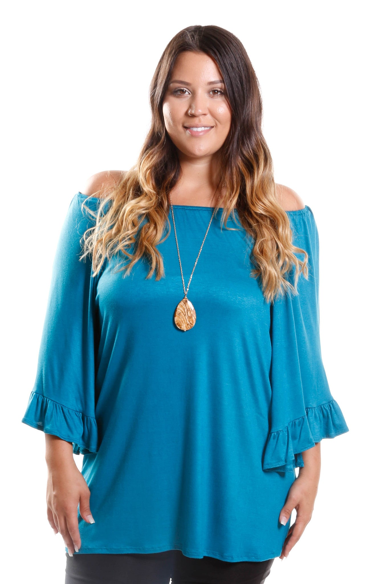 Plus Size Sexy Off Shoulder Ruffle Tunic