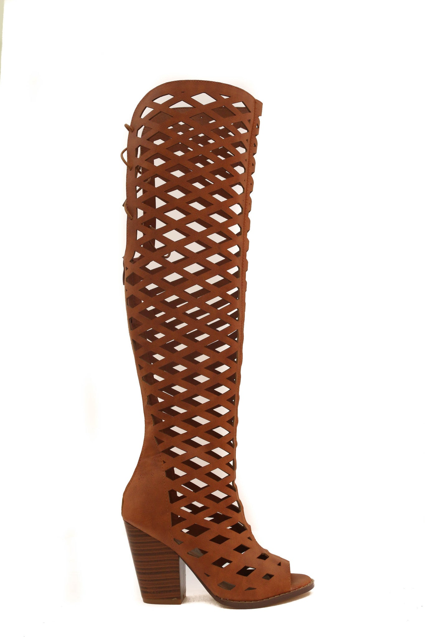 Cut Out Knee High Boot