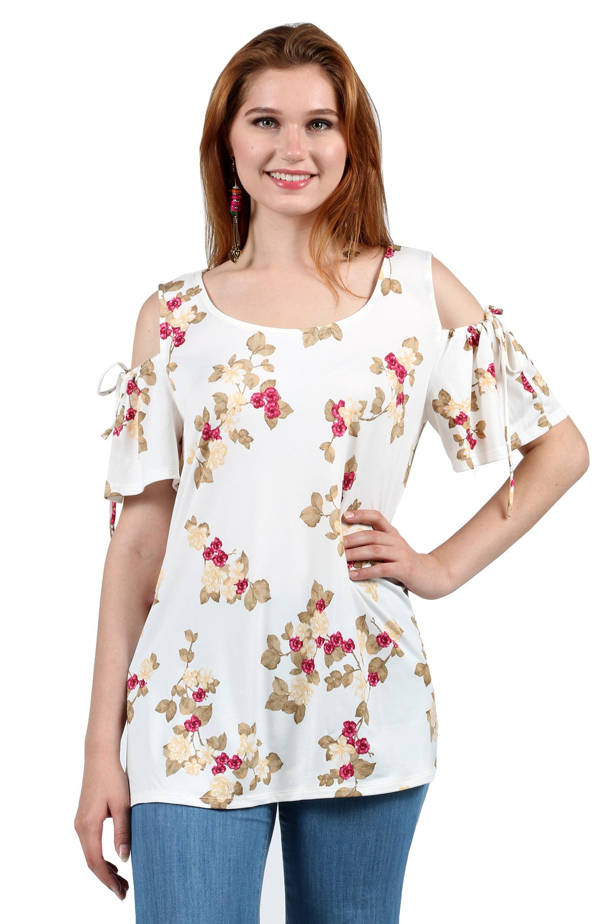 Casual Cold Shoulder Floral Print Blouse Tunic Top