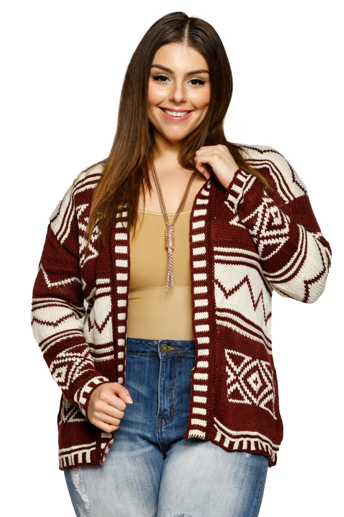 Plus Size Open Front Mixed Pattern Cardigan Sweater