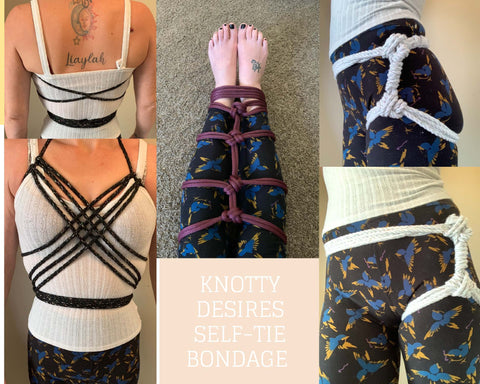 Chest harness, hip harness, and leg and ankle self tie bondage collage.