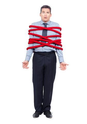 A confused man wrapped in a rope.