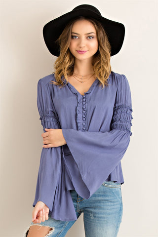 Peasant Button Down Top Slate