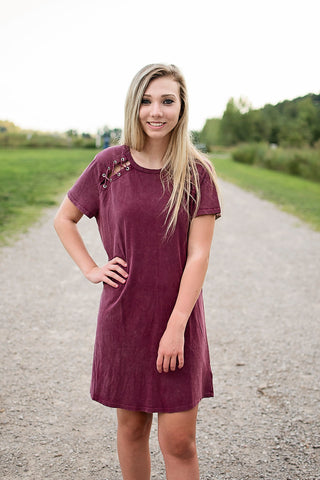Burgundy Lace-Up Dress