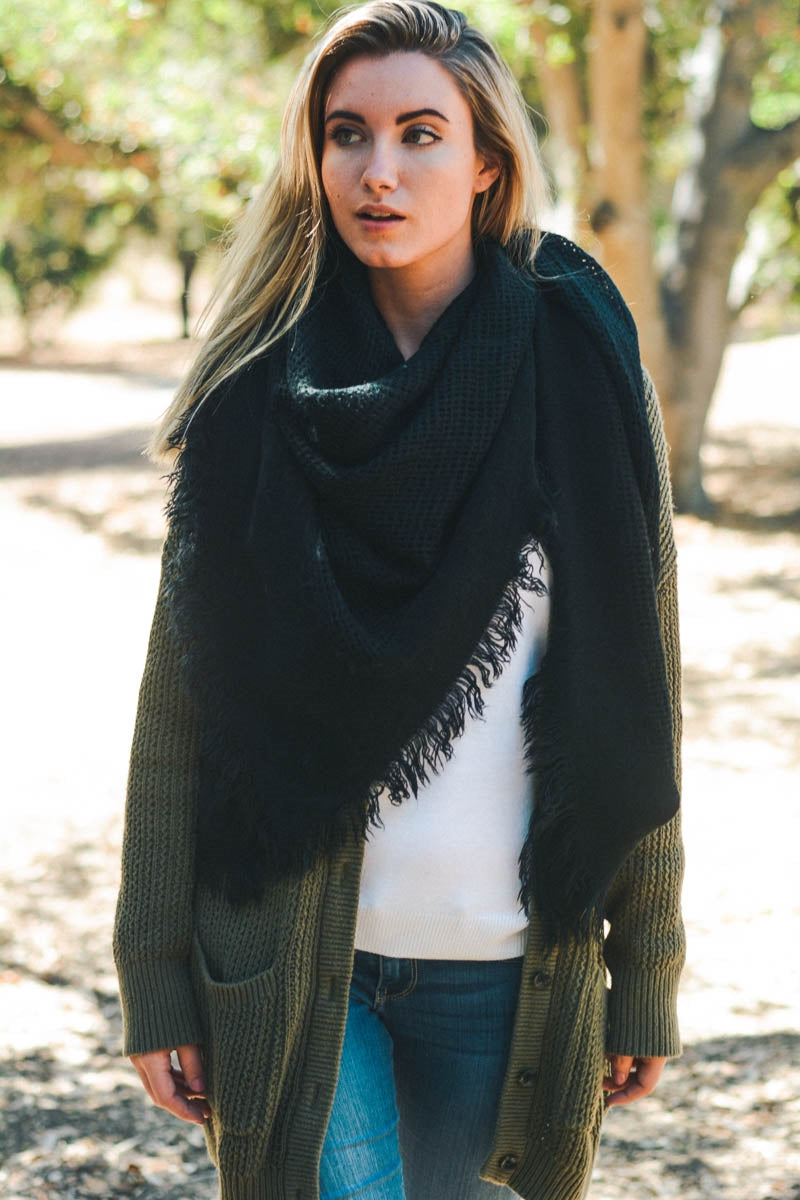 Black Blanket Scarf