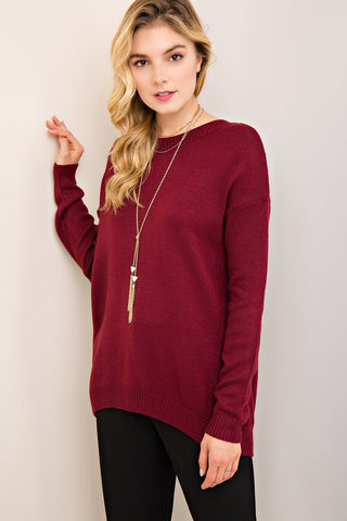 Lace Up Sweater - Burgundy