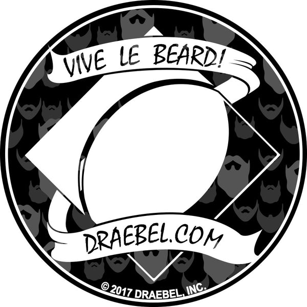 "Sticker - 3"" Round - vive le beard"