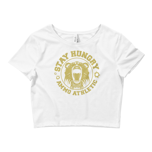 Women's Short Sleeve Crop Top Stay Hungry Roar T-Shirt