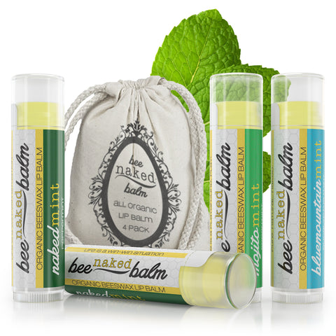 Organic LIP BALM (4-Pack) Minty Variety Pack by BeeNakedBalm - All Organic Ingredients, 100% Natural Beeswax, Unbelievably Smooth, Gluten-Free, Non-GMO, Non-Toxic - Peppermint Spearmint & Eucalyptus Mint Flavors